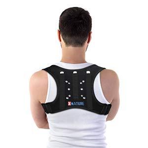 """XNATURE Haltungskorrektur 3-Stab-Memory-Rückenlehne mit Faserverstärkung Posture Corrector/Verstellbarer verdeckter Rückenstrecker/Lordosenstütze Rücken Support/Geeignet für die Taille 25.9\""""-42.9\"""""""