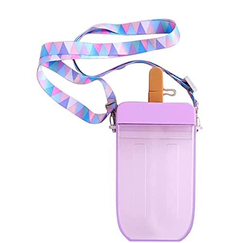 AHURGND Creative Helado Popsicle Popsicle Bebida Botellas de Agua, Linda Taza de Paja de paletas, Botella de Agua en Forma de palapa Linda, Taza de Consumo de Jugo Transparente para niños Adultos