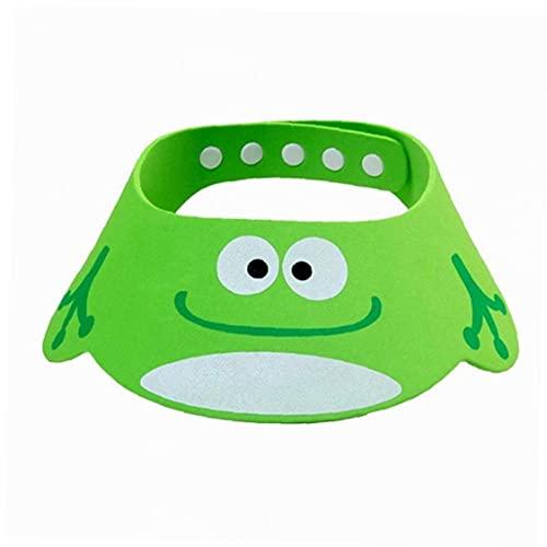 Ducha del bebé casquillo ajustable a prueba de fugas niños sombrero encantador Animales Diseño del baño del bebé del bebé del visera casquillo del champú verde