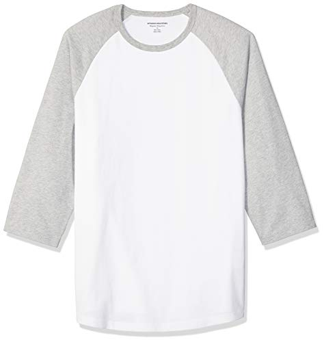 Amazon Essentials - Camiseta de béisbol de manga 3/4 para hombre, Gris jaspeado claro/ blanco, US S (EU S)