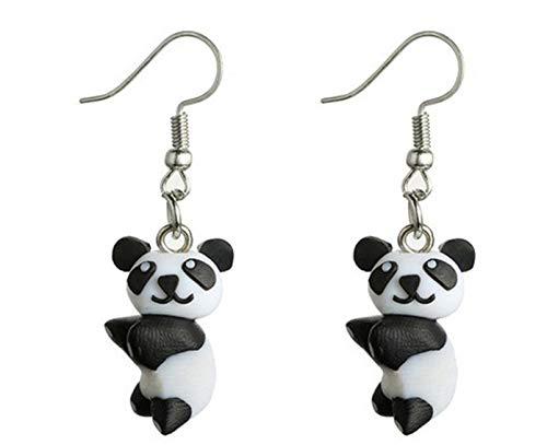 Miniblings pendientes pendientes pendientes de la panda panda oso de peluche Negro Blanco - Me pendientes joyería hecha a mano de la moda pendientes de plata