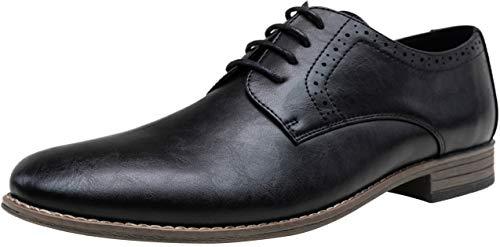 JOUSEN Men's Oxford Business Dress Shoes Formal Black Oxford Wingtip Lace Up Dress Shoes(10,Black)