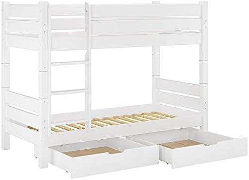 Erst-Holz iefer-Stückbett Weiß100x200 Etagenbett Hochbett teilbar Rollrost Bettkasten 60.16-10WT80S2