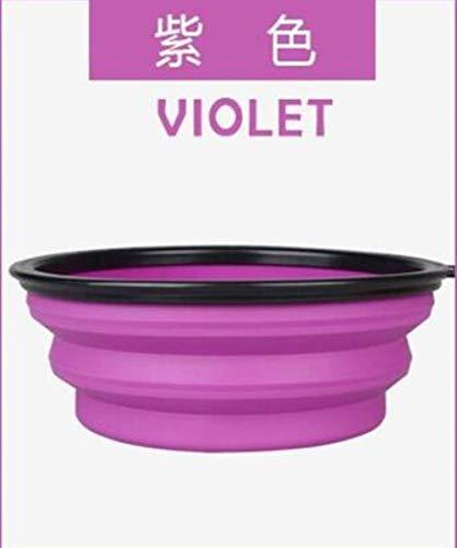 Suooyi draagbare plastic dispenser grote schaal voor huisdieren, schaal van silicone, 1 l, opvouwbaar, draagbaar, voor honden, honden, drinkwater, L 900ml, Paars.