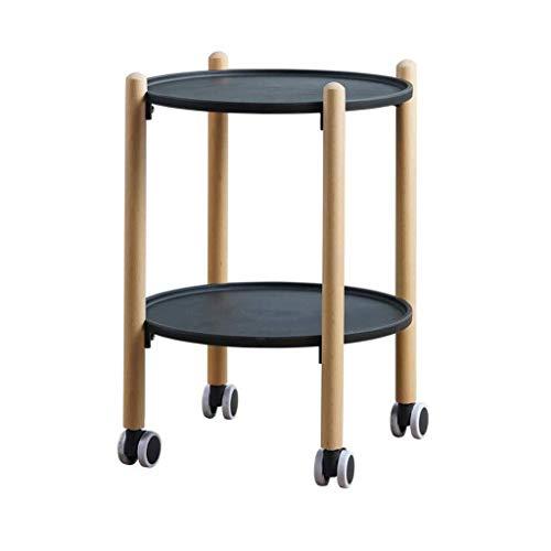 CSQ Runder Couchtisch mit Rädern, Zwei Etagen Kunststoff Table Hotel Restaurant Mobile Dining Car Wohnzimmer Ecke Blumenständer (Color : Black)