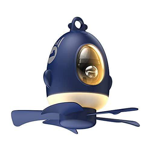 Ventilador techo para niños, dormitorio, avión, carga USB lámpara luz nocturna LED decoración hogar niños, hogar, oficina, tienda campaña, cenador, interior estudiante (azul)