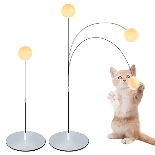 GrennGee 猫のおもちゃ ぐるぐるタワー ボール 猫用ボール回転盤 弾性子猫のおもちゃ付き び道具 ペット 用品スマート キャット トイ自動 ストレス解消 運動不足解消 猫 蹴り おもちゃ ネコ 一人遊び おもちゃ 安全素材 大容量電池 鈴付き羽根と