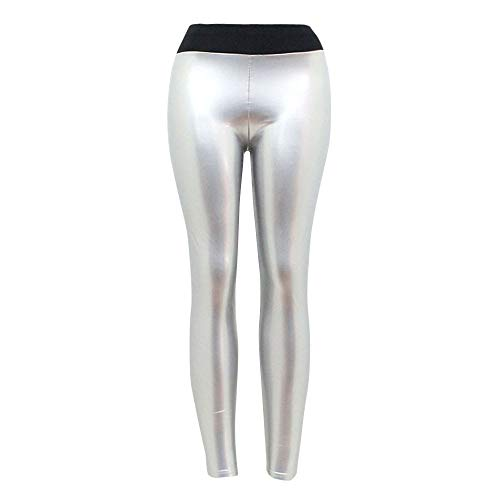 Damen Blinkdicht Hohe Taille SporthoseLederhosen, LeeMon Gym Fitness Outdoors Yoga soprt Pants (Silber, L)