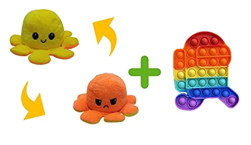 Polvo Reversível Humor Bravo Feliz Amarelo Laranja + Fidget Push Pop It Among Us Correndo, brinquedos sensoriais Pop Its Bubble Fidget para alívio de estresse e ansiedade, brinquedo para crianças e adulto