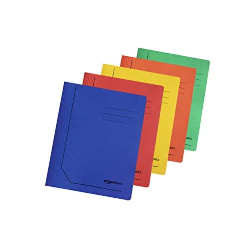 Amazon Basics - Cartelline sottili in carta manilla riciclata, con barra di compressione in metallo, 240 g/m2, A4, 10 confezioni da 10, colori assortiti