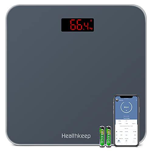 Báscula de Baño Báscula Inteligente Bluetooth Báscula Digital con IMC de Alta Precisión, Monitores de Peso Corporal Maximo 180kg para Andriod (4.0 y superior) y IOS(8.0 y superior), Negro