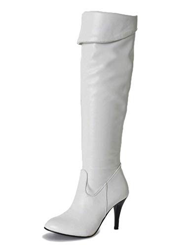 Minetom Damen Klassische Stiefel Stiletto über Knie Lange Stiefel Langschaft Stiefeletten mit Pfennigabsatz PU Leder Wildleder Overknees Boots Winterstiefel B Weiß 38 EU