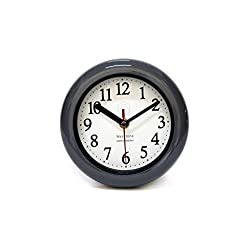 Perfect Shell Black Pearl Water Resistant Clock (Grey), Quartz Movement, Simple Design, 6.5 in Diameter, ABS Glass Front, Flexible Options to Hang or to Stand. Withstand Water Vapor and Moisture.