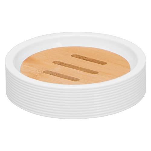 bremermann Seifenschale Segno aus Bambus und Kunststoff // Seifenhalter für Stückseife (Weiß)