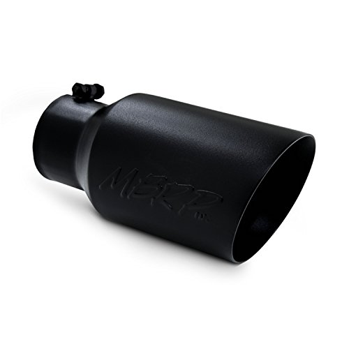"""MBRP T5072BLK 6"""" O.D. Dual Wall Angled Exhaust Tip (Black Coated)"""