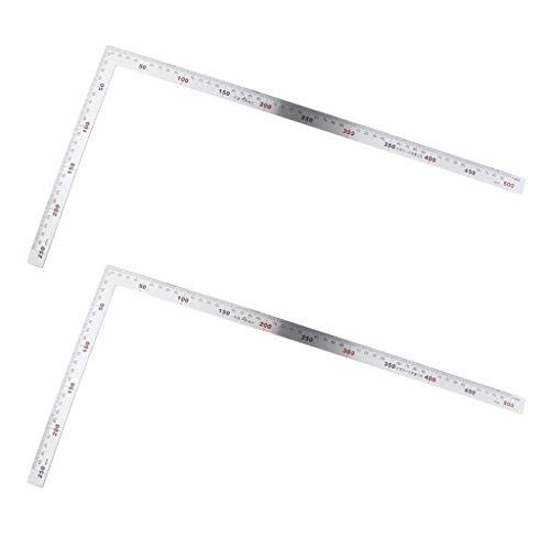 Amuzocity Regla de ángulo Cuadrado de Acero de 2 Piezas Regla de 90 Grados para Ingenieros Carpintero