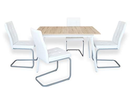 B&D home - Essgruppe mit 4 Stühlen | Esstisch ausziehbar 120-160x80 cm - Sonoma Eichen-Optik | Freischwinger Stühle