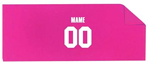 /YYY/名入れ スポーツタオル 【センター】【 番号 名前 】【ピンクシャーリングタオル】【白文字】【フリー】