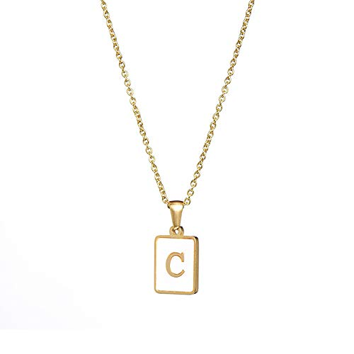 Square Letter Necklace, Personalized Alphabet A-z Dainty Pendants Minimalist Elegant Initial Charm Jewelry for Women Girls, Love Gifts for Her,C