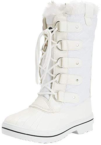 Polar Damen Schneestiefel, gesteppt, hoch, wasserdicht, warm, Regenstiefel, Winterstiefel, Weiß -...
