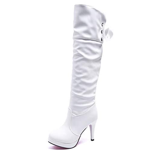 Womens hoge hak lederen laarzen platform over de knie laarzen warm pluche winter werk bruiloft partij dij hoge laarzen grootte