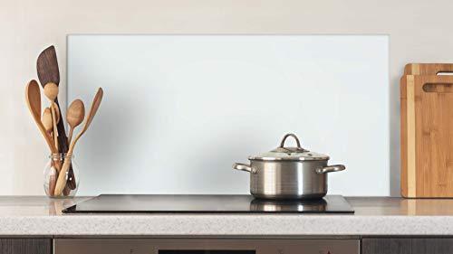 Glasvision Küchenrückwand aus Glas (80 x 40cm) - zertifizierter Spritzschutz für Küche und Herd - kratz- und stoßfestes Wandpaneel dank Sicherheitsglas (ESG) - Basisglas Weiß