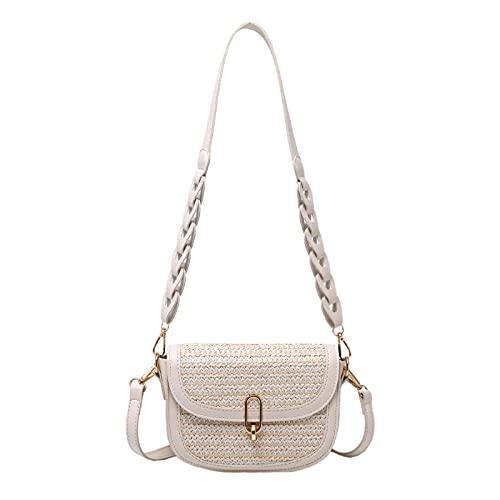YYZCM Weave Saddle Bag Summer Straw Bolso de mujer Travel Hombro Messenger Bag Purses-3
