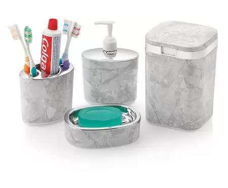 Premium Design Chrome Plated Ceramic Feel Bathroom Accessory Set - Bath Set of 4 Items (Ceramic)