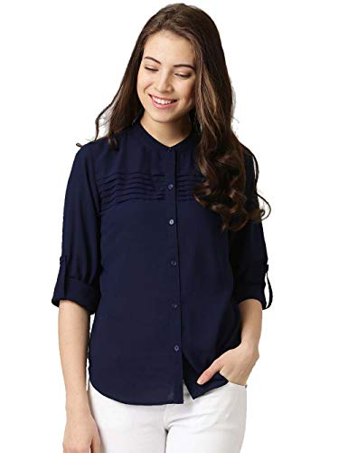 J B Fashion Women's Plain Regular fit Top (fmania-W1125_Nevy Blue_Medium)