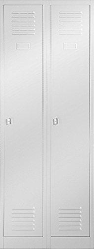 Jan Nowak by Domator24 Kleiderspind Stahlspind Garderobenschrank Spind Pulverbeschichtung Flügeltüren, Lüftungsschlitzen, 2 Abteile Trennwand 180 cm x 60 cm x 50 cm(H x B x T) (grau/grau)