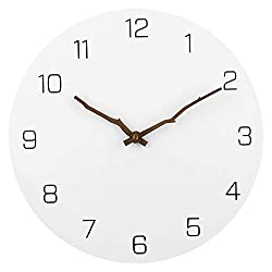 JFeng Modern Simple Wooden Wall Clock, White 12 inch Round Silent Non-Ticking Quartz Decorative Battery Operated Wall Clock for Living Room Home Office School w Arabic Numeral Design (Bough Hands)