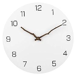 JoFomp Modern Simple Wooden Wall Clock, White 12 inch Round Silent Non-Ticking Quartz Decorative Battery Operated Wall Clock (White, 12 inch)