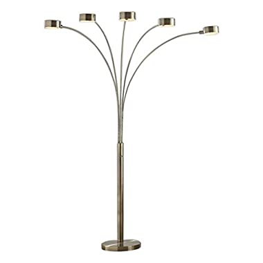 Artiva USA LED207901AB Micah LED 5-Arch Floor Lamp W/Dimmer, 88&quot, Antique Satin Brass