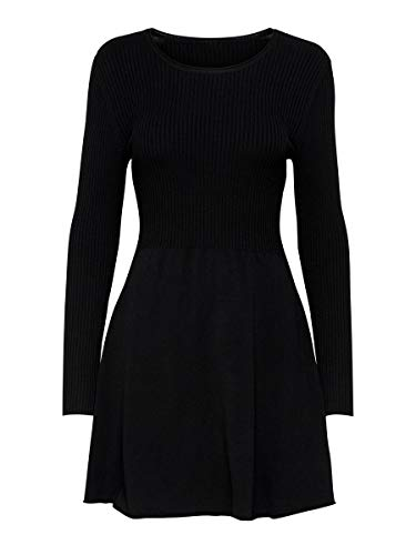 Only ONLALMA L/S O-Neck Dress KNT Noos Vestido, Negro (Black