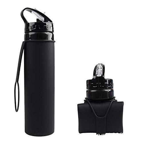 Song6 Strandzelt Faltender Kessel-Nahrungsmittelgrad-Silikon-Wasser-Flaschen-Spielraum-beweglicher im Freienwasser-Schalen-Sport-Isolierungs-Kessel, beweglich Camping Zelt (Color : Black)