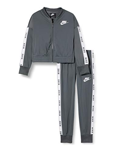 Nike Mädchen G NSW TRK Suit Tricot Tracksuit, Iron Grey/White/Iron Grey/(White), M