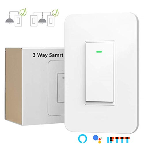 3 Way Smart Wi-Fi Light Switch Plus,Individual 3 Way Switch(only one needed) /Single Pole Switch,Works With Amazon Alexa Google Assistant