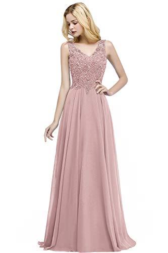 MisShow Damen Elegant V-Ausschnitt Abendkleid Ballkleid Chiffonkleid mit Perlstickerei lang Alt Rosa 36