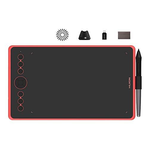 HUION Inspiroy Ink H320M Tableta Gráfica Doble Propósito Innovador Tableta Gráfica Y Tableta de Escritura LCD, 8192 Niveles, Función de Inclinación, Android, Bolsa de Manga, Rojo