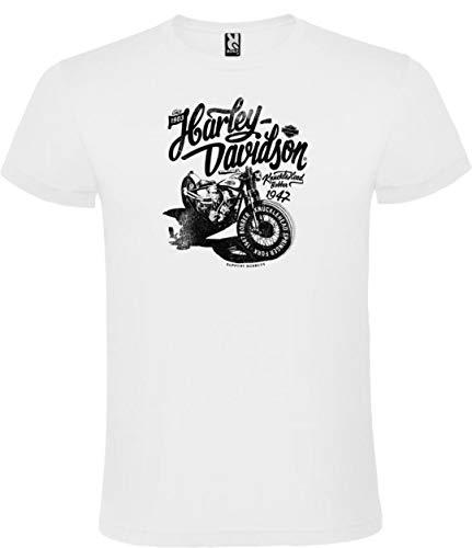 Camiseta Roly Blanca con Logotipo de Harley Davidson Hombre 100% Algodón Tallas S M L XL XXL Mangas Cortas (S)