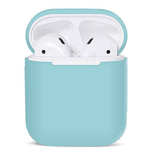 iMusk Airpods Silikon Tragetasche Schutzhülle Haut Sleeve Pouch Box für Apple Airpods Air Ear Pods Knospen Wireless Kopfhörer Zubehör (Minzgrün)