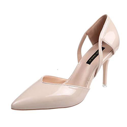 Yhjmdp Sandalias De Tacón Alto para Mujer, Sandalias De Tacón Bajo, Zapatos De Stripper con Plataforma para Graduación Beige-36