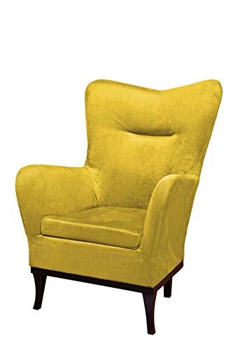 Nowak MebLiebe Sessel Flora Ohrensessel mit Füße 107x70x75 cm Stuhl Sitz Relax Salon (Gelb)