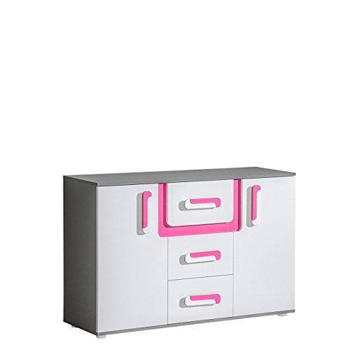Mirjan24 Kommode Apetito AP07 mit 3 Schubladen, Sideboard, Schubladenkommode, Highboard für Jugendzimmer (Anthrazit/Weiß + Rosa)