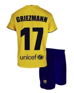 Completo maglia e pantaloni secondo equipaggiamento FC Barcelona 2019-20 – replica offerta con licenza – Dorsale 17 GRIEZMANN – Bambino taglia 6