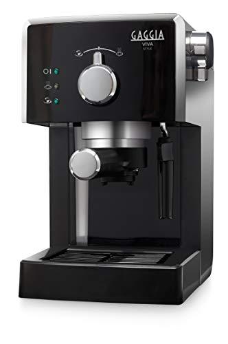 Gaggia RI8433/11 Viva Style Macchina da Caffè Espresso Manuale, per Macinato e Cialde, 15 Bar, 1L, 1025W, Nero