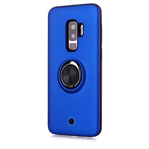FAWUMAN Hülle für Samsung Galaxy S9+ / S9 Plus mit Standfunktion, Dekomprimierungsknopf, Rotationsgyroskop, PC + TPU Handyhülle Stossfest Case -Navy blau