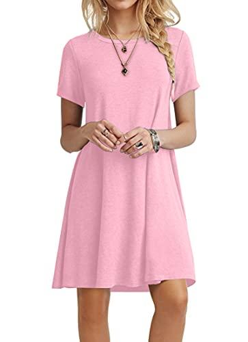 POPYOUNG Women's Summer Casual Tshirt Dresses Beach Dress X-Large, Pink