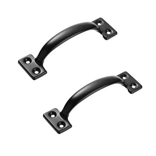 Türgriff aus schwarzem Metall für Türen, Schränke, Garderoben (2 Stück)
