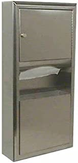 Bobrick 3699 ClassicSeries Stainless Steel Surface-Mounted Paper Towel Dispenser/Waste Receptacle, Satin Finish, 2 Gallon Capacity, 14-1/4
